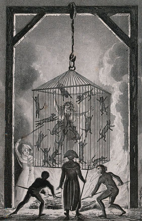 The_burning_of_Louisa_Mabree,_the_French_midwife_in_a_cage_f_Wellcome_V0041811
